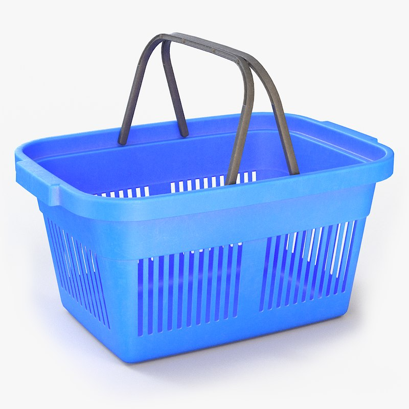 3D model plastic shopping basket pbr
