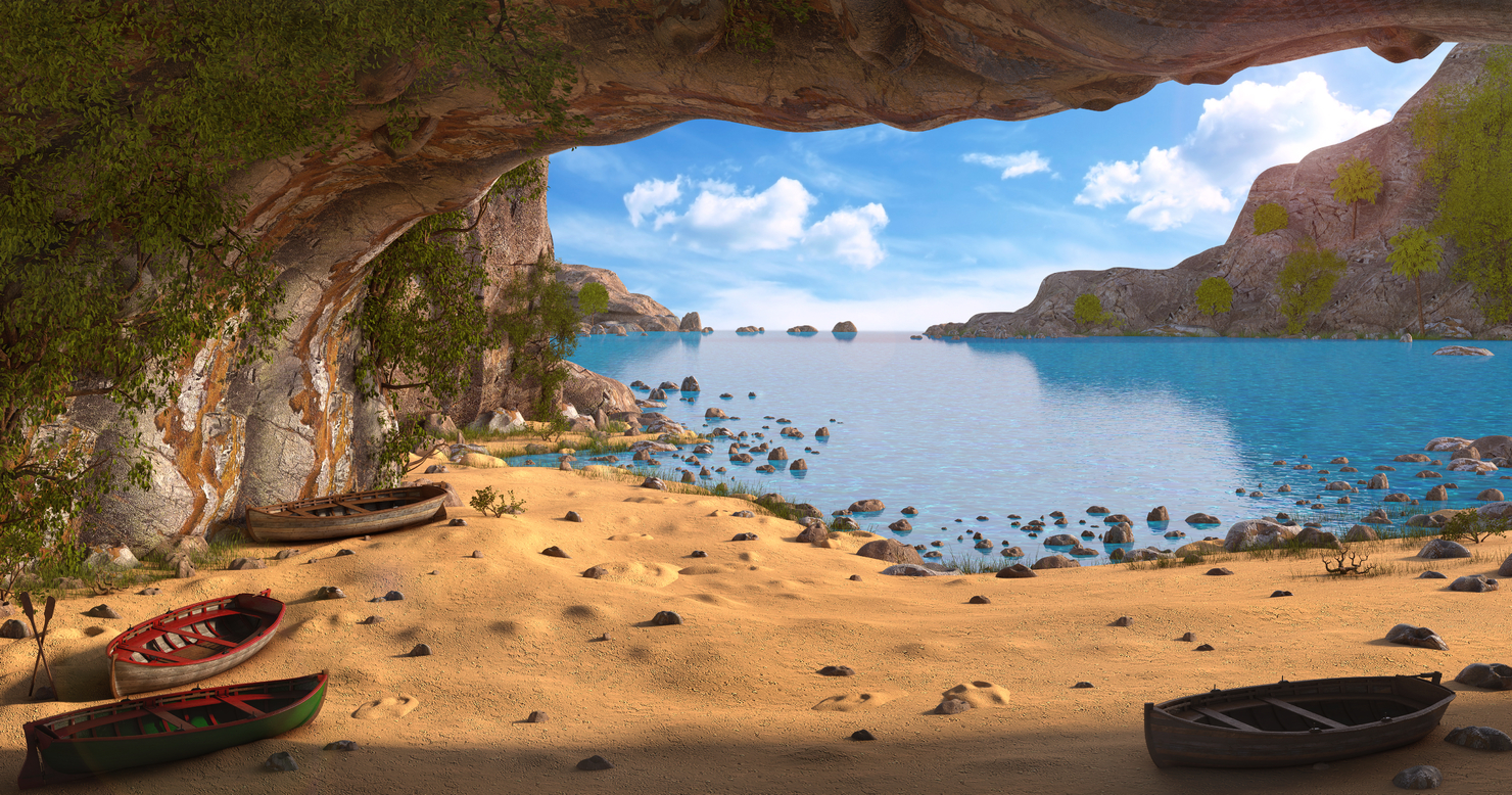 3D cave beach