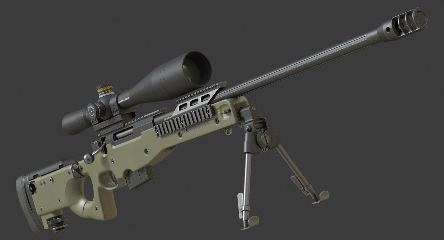 3D realistic l96a1 338 lapua model