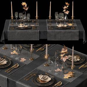 table setting 2 plates model