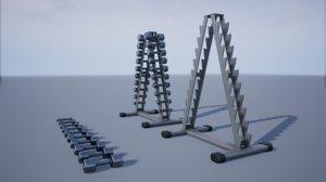 3D model pbr chrome dumbbell rack