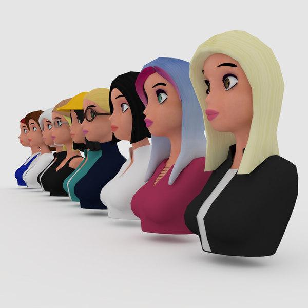 vr female character avatars model