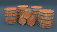 barrel hand painted 3D model