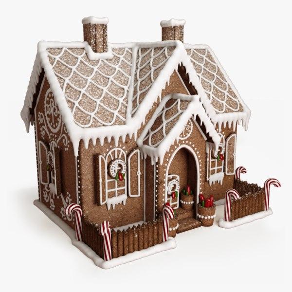 3D gingerbread house model