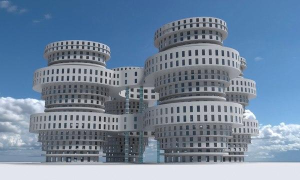 3D building 6 model