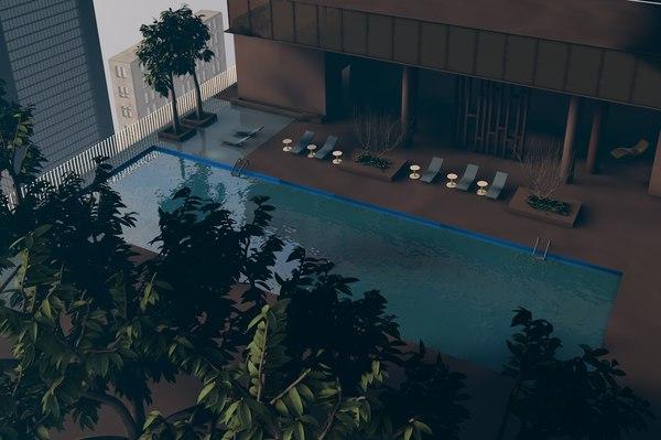 3D hotel suit pool scene model