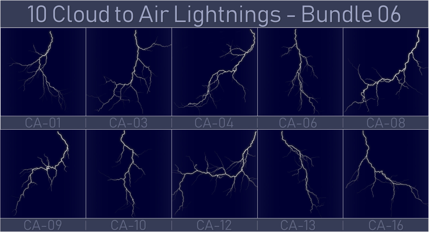 10 lightnings realistic - 3D model