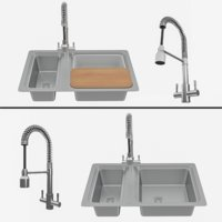 STEEL SINK +Groove Kitchen Sink Mixer Tap Chrome and accessories