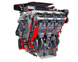 v6 car engine cutaway model