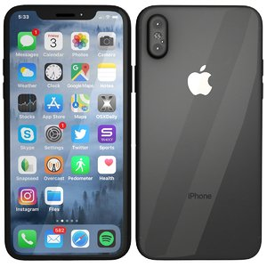 space gray iphone x 3D model