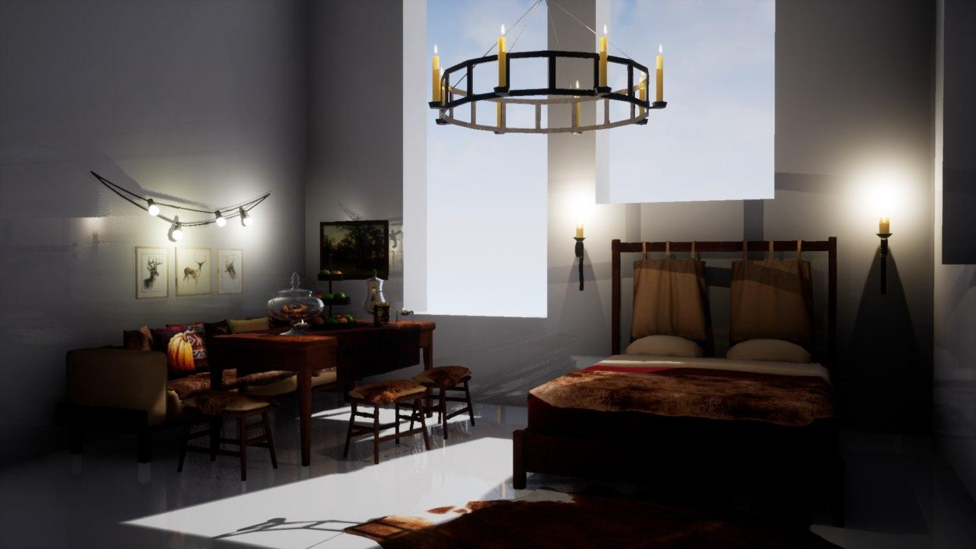 set furniture october bedroom 3D model