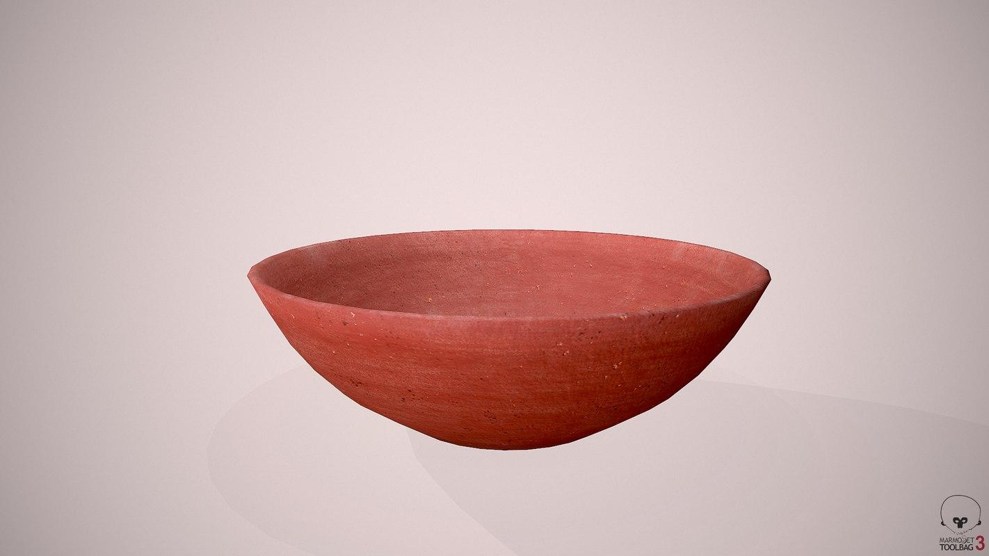 3D clay bowl model