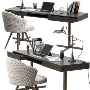 3D model realistic minotti close writing desk