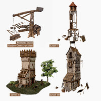 fantasy medieval guard tower 3D model