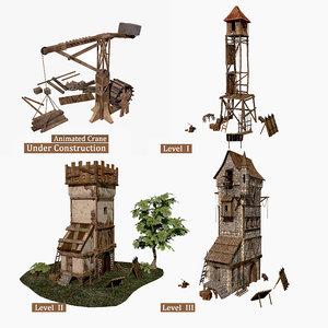 fantasy medieval guard tower 3D model