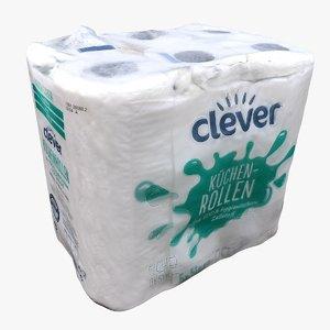 pack paper towel rolls 3D