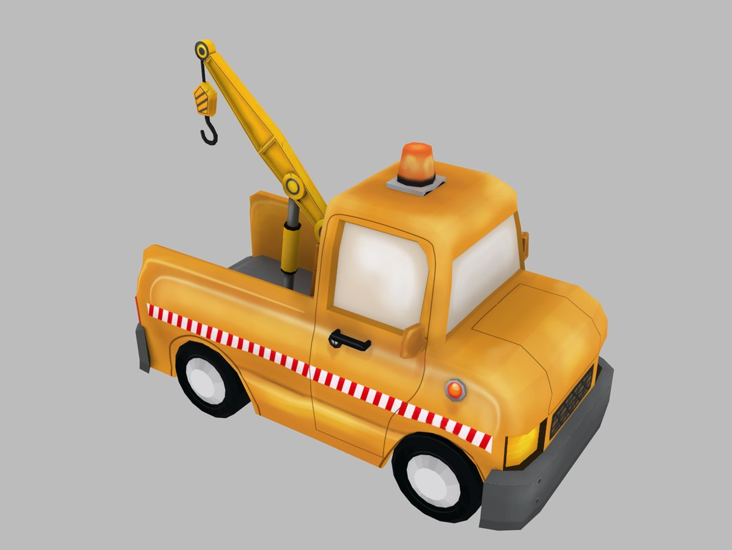 3D cartoon tow truck model