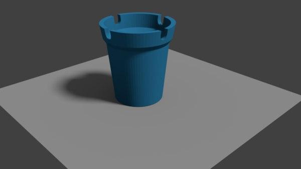 3D blue plastic ashtray model