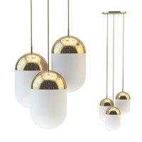 3D pendant light woud gold