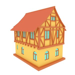 house medievel cartoon 3D