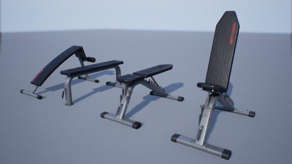 pbr sport bench set 3D