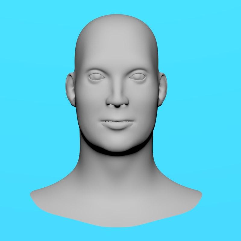 3D realistic male head model