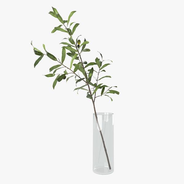 3D olive branch vase model