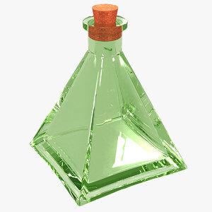 3D glass bottle interior exterior