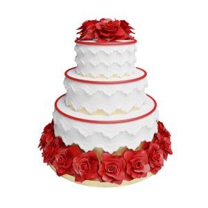 tier wedding cake 3D model