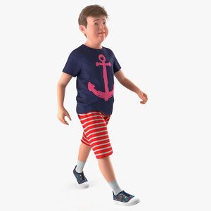 3D model teenage boy walking pose