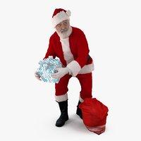 santa gift people human 3d model