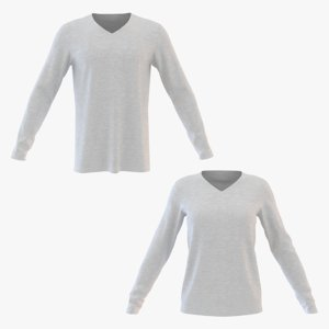 3D v neck sweatshirt