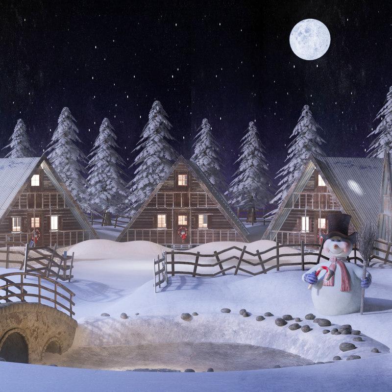 christmas village 3D model