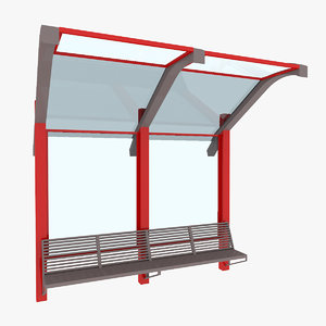 3D model city small bus stop