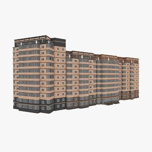 3D residential house building 1-4 model