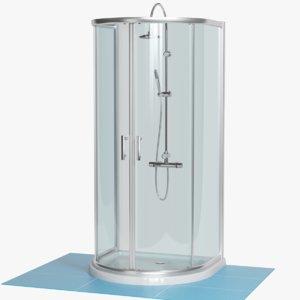 luxury d-shape shower enclosure 3D
