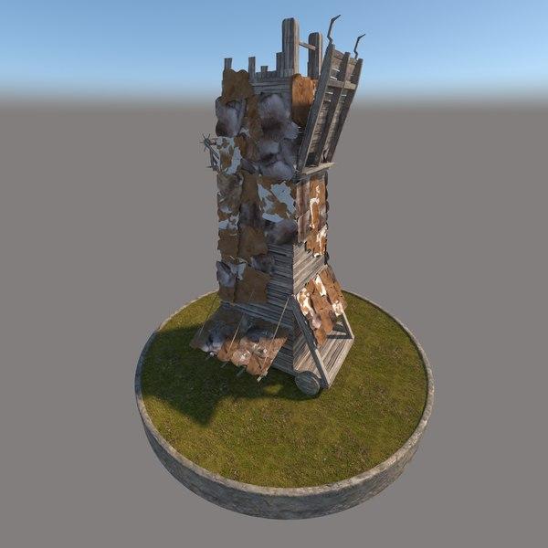 3D medieval siege tower