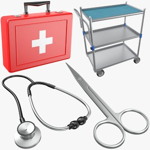 medical cart scissor 3D model