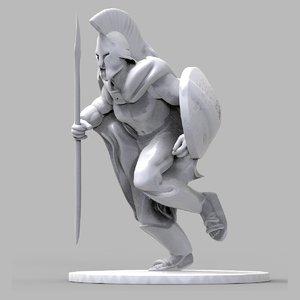 3D model spartan statue