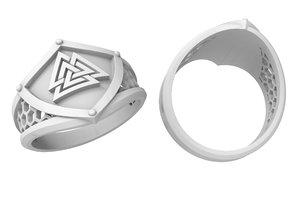 jewellery viking ring valknut 3D model