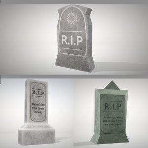 3D tombstones dead