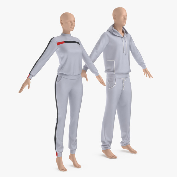 track suits male female 3D model
