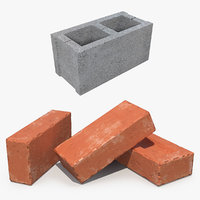 3D bricks red block