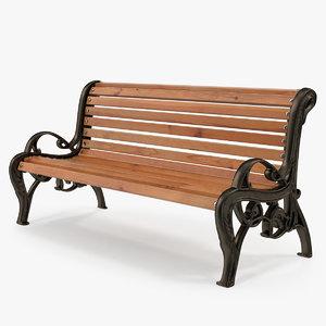 classic park bench 3D