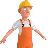 cartoon worker 3D model