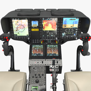 3D model airbus h145 helicopter cockpit
