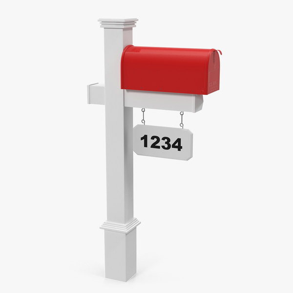 3D classic mailbox wooden stand model