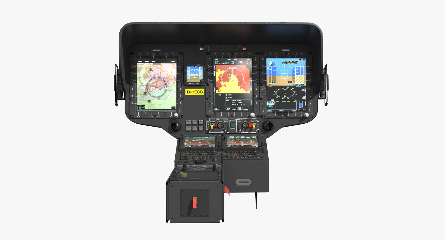 3D helicopter instrument control panel