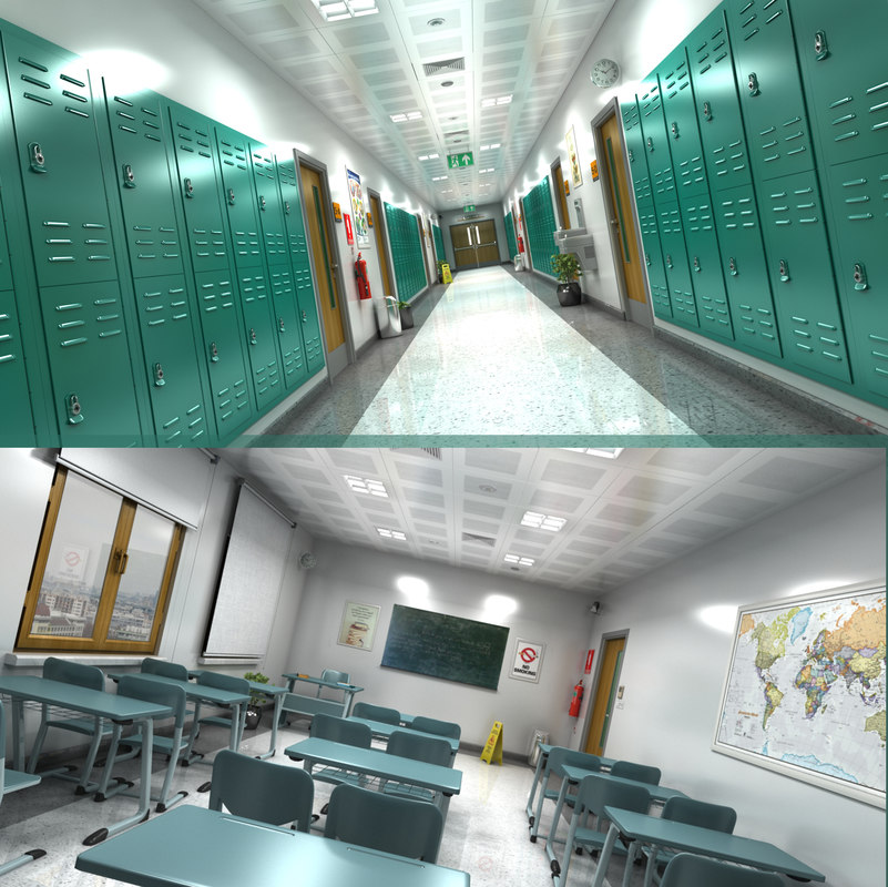 3D model school hallway classroom
