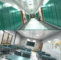 Classroom and School Hallway